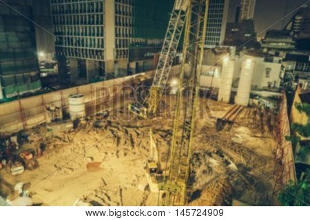 Abstract blur  Crane and building construction site ( Filtered image processed vintage effect. )