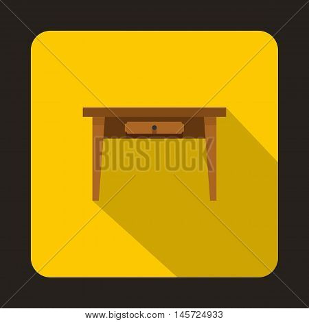 Wooden table icon in flat style on a yellow background vector illustration