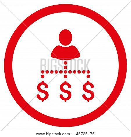 Person Payments rounded icon. Vector illustration style is flat iconic symbol, red color, white background.