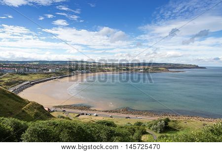 Elevated view of scarborough beach with blue sky