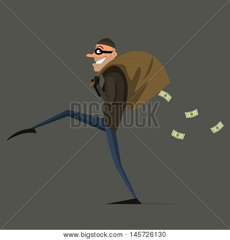 Thief steals a bag of money, cartoon, flat style set. EPS 10. vector