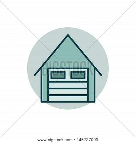 Garage flat icon. Vector colorful car garage symbol or logo element