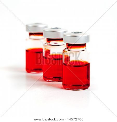 Medicine vials, isolated on white background