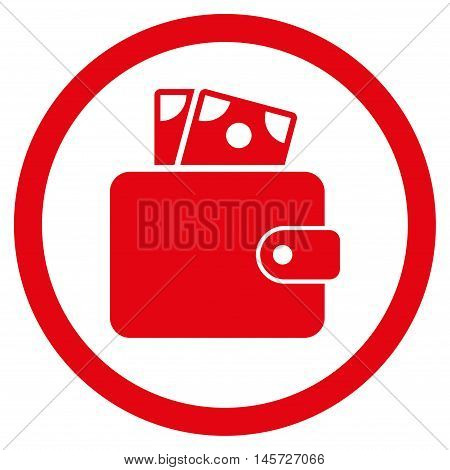 Wallet rounded icon. Vector illustration style is flat iconic symbol, red color, white background.
