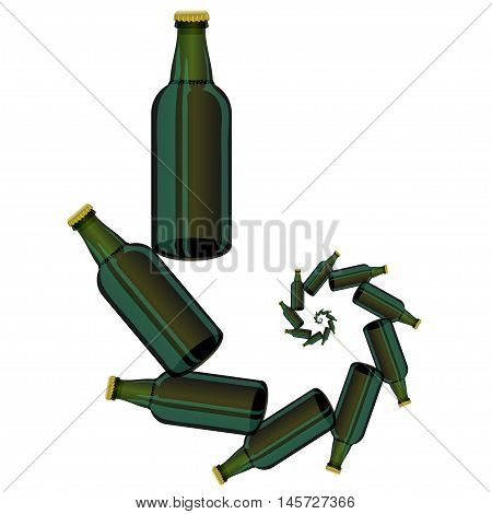 Vector Green Glass Beer Bottles Isolated on White Background.