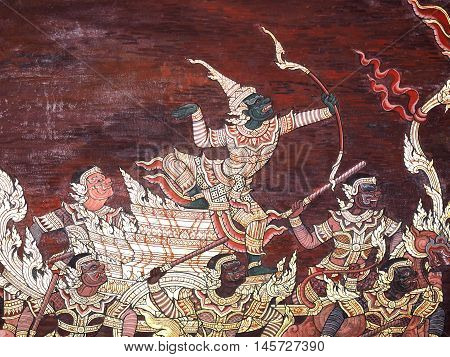 Ramayana epic story Temple Wall Painting Thai Mural