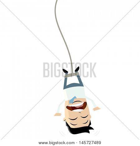 bungee jumping businessman clipart
