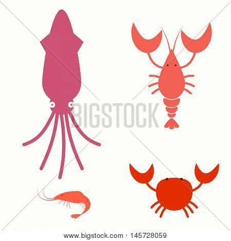 Sea food flat icon set. crab lobster shrimp squid