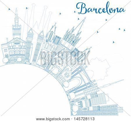 Outline Barcelona Skyline with Blue Buildings and Copy Space. Vector Illustration. Business Travel and Tourism Concept with Historic Buildings. Image for Presentation Banner Placard and Web Site.
