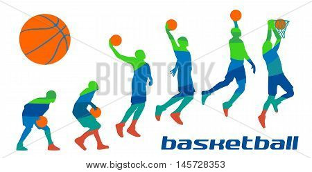 Set different poses basketball players in silhouettes. Vector abstract polygon colorfull flat illustration isolated on white background