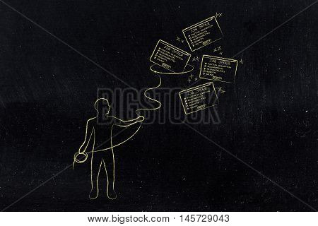 Man With Lasso Catching A Group Of Falling Job Offers, Filter Applications