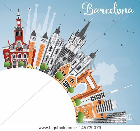 Barcelona Skyline with Color Buildings, Blue Sky and Copy Space. Vector Illustration. Business Travel and Tourism Concept with Historic Buildings. Image for Presentation Banner Placard and Web Site.