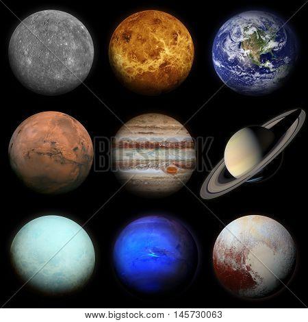 Solar System. Planets On Black Background.