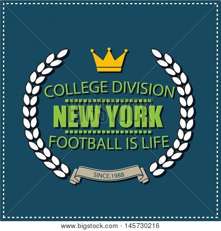 New York college university division football team sport label, logo, emblem typography, t-shirt graphics for apparel.