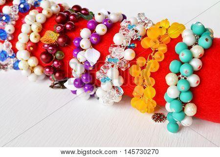 Set of colorful bracelets. Bright womens bracelets made of beads