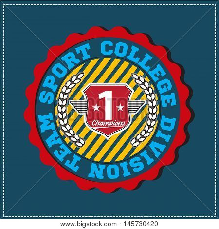American sport college varsity team division champions logo, emblem, label. Very easy to use for apparel.