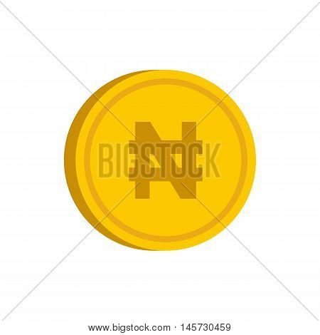 Gold coin with nairas sign icon in flat style on a white background vector illustration
