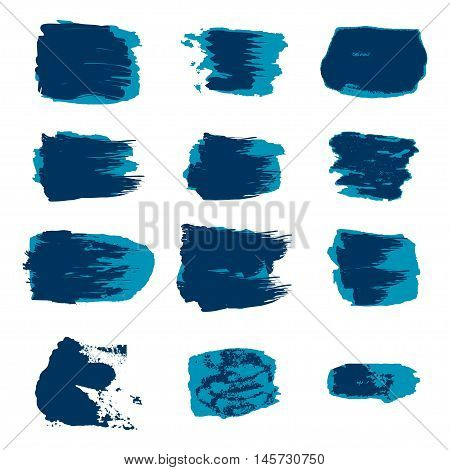 Vector brush stroke paint abstract on white background set hand drawing design art blue color grunge texture frame for banner label