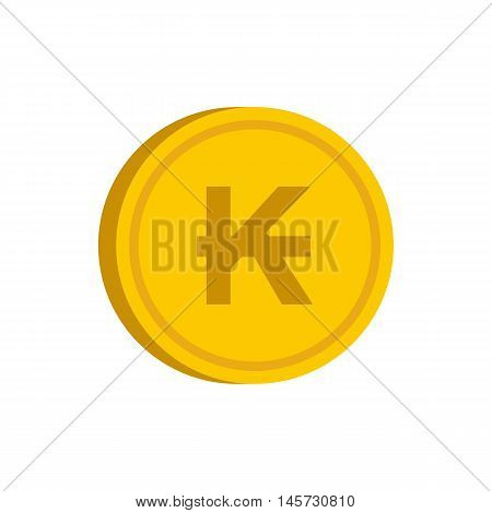 Gold coin with lao kip sign icon in flat style on a white background vector illustration