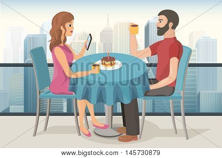 couple on a date celebrating birthday in a roof top cafe with a cake candle and a cup of tea vector image