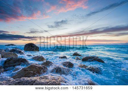 Kathisma beach, Lefkada, lefkas island Greece at sunset.
