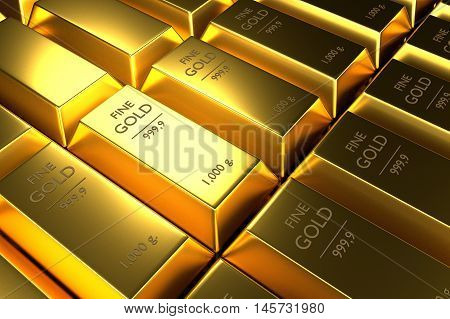 Close up Stacked gold bars 3d rendering illustration