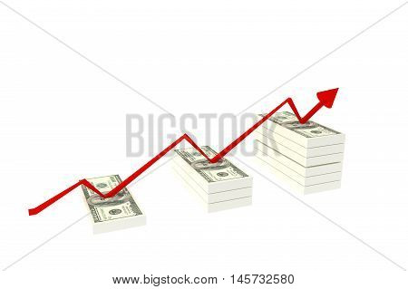Stack of $100 dollar bills. Isolated on white background and red rising graph with upward 3d rendering ilustration,rich concept,a stair to rich concept
