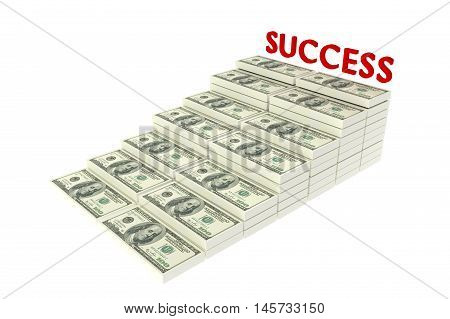 Stack of $100 dollar bills. Isolated on white background with text SUCCESS,3d rendering illustration,rich concept,a stair to rich concept