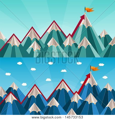 Vector Success And Leadership Horizontal Banners With Mountain Landscape