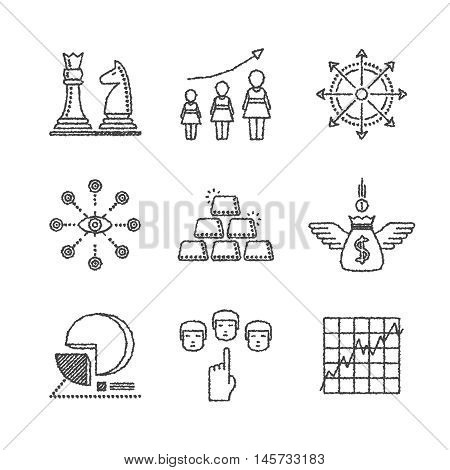 Set Of Vector Business Icons And Concepts In Sketch Style