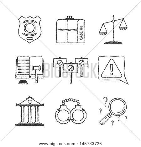 Set Of Vector Justice Icons And Concepts In Sketch Style