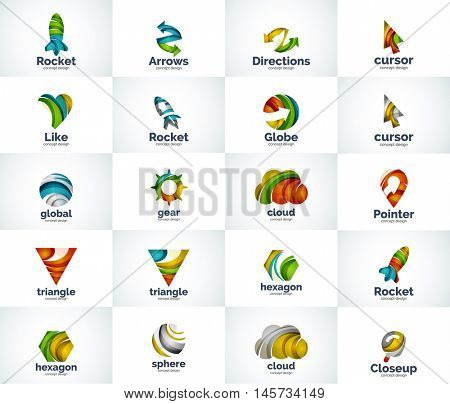 Vector set of abstract unusual internet logo icons - universal geometric concepts