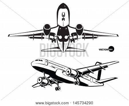 Aircraft. The plane landing, the view from the bottom and side. in the aeroplane stickers, badges, logos black and white style. and design elements of monochrome style. illustration vector.