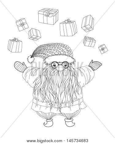 Santa Claus juggles gifts. Merry christmas. Vector illustration in zentangle style. Hand-drawn elements for New Year's design. Pattern for coloring book. Xmas sketch by trace for adults.