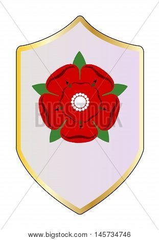 A shiled with the Lancastrian red rose emblem