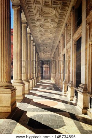 Rome Italy august 23 2016; Monumental colonnade of Palazzo Wedekind in Rome