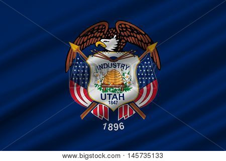 Flag of Utah is a state in the western United States. 3D illustration