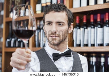 Bartender Examining Red Wine In Glass At Shop
