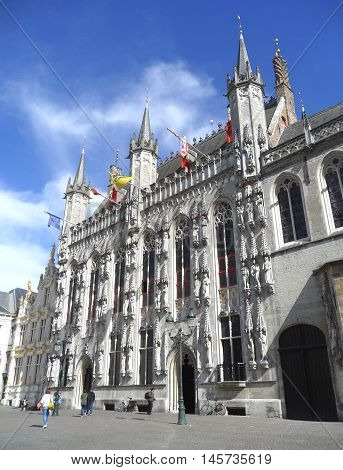 Stunning Architecture of City Hall of Bruges, Belgium