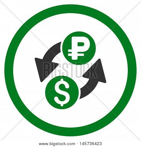 Dollar Rouble Exchange rounded icon. Vector illustration style is flat iconic bicolor symbol, green and gray colors, white background.