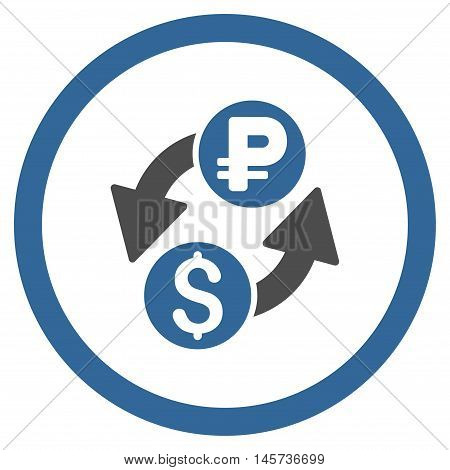 Dollar Rouble Exchange rounded icon. Vector illustration style is flat iconic bicolor symbol, cobalt and gray colors, white background.
