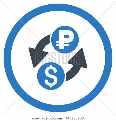 Dollar Rouble Exchange rounded icon. Vector illustration style is flat iconic bicolor symbol, smooth blue colors, white background.