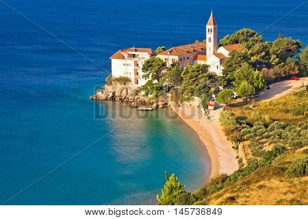 Bol beach and monastery aerial view Island of Brac Croatia dalmatia