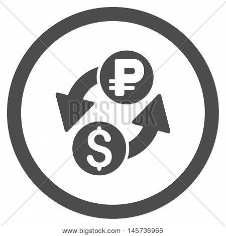Dollar Rouble Exchange rounded icon. Vector illustration style is flat iconic symbol, gray color, white background.