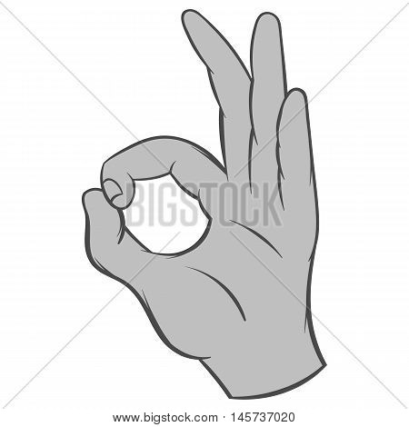 Gesture okay icon in black monochrome style isolated on white background. Gestural symbol. Vector illustration