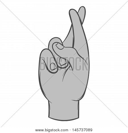 Fingers crossed icon in black monochrome style isolated on white background. Gestural symbol. Vector illustration