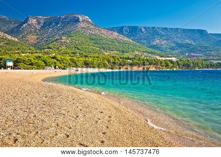 Zlatni Rat turquoise beach in Bol on Brac island Dalmatia Croatia
