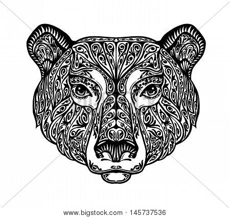 Bear, grizzly or animal painted tribal ethnic ornament. Hand-drawn vector illustration with floral elements