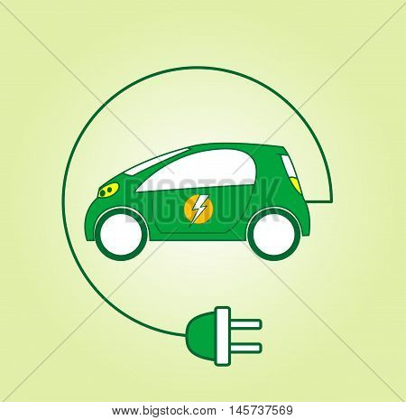 Electric car symbol with flash on back door. Ecocar concept. Vector