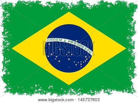 Brazilian national flag with distressed knocked out edges